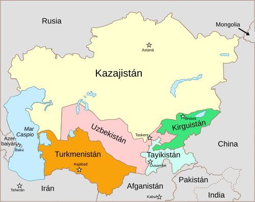 Mapa político de Asia Central, 2008.