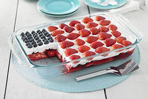 Summer holidays: Good for picnics, not so great for baking. Avoid heating up the kitchen by combining <b>Jell-O</b> Gelatin, cake and berries for a truly patriotic treat.