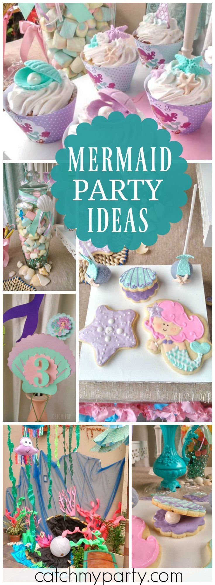 You have to see this lovely purple and teal under the sea mermaid party! See more party ideas at Catchmyparty.com!