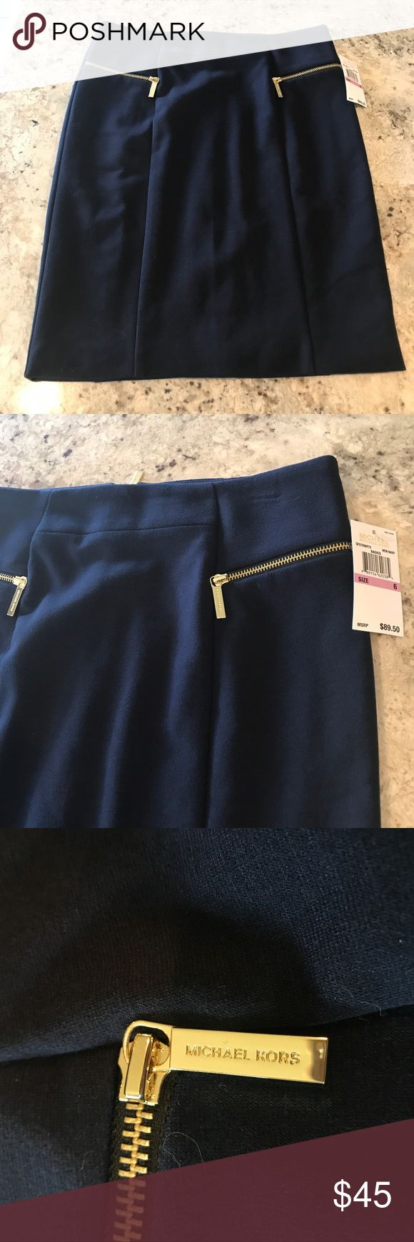 """NWT Michael Kors Navy Pencil Skirt NWT Michael Kors Navy Pencil Skirt in size 6.  Measurements: Waist 15"""", Hips 18"""", Length 21"""". This skirt has great gold details and good stretch to it!   ......................... 🚫 - No Trades! 🚭 - listings from a non-smoking home 📬 - fast shipping 💌 - Feel free to make an offer!  💯 - items as described, feel free to ask questions  🔍 - search my closet for other great listings! 🛍 - Happy Shopping! MICHAEL Michael Kors Skirts Pencil"""