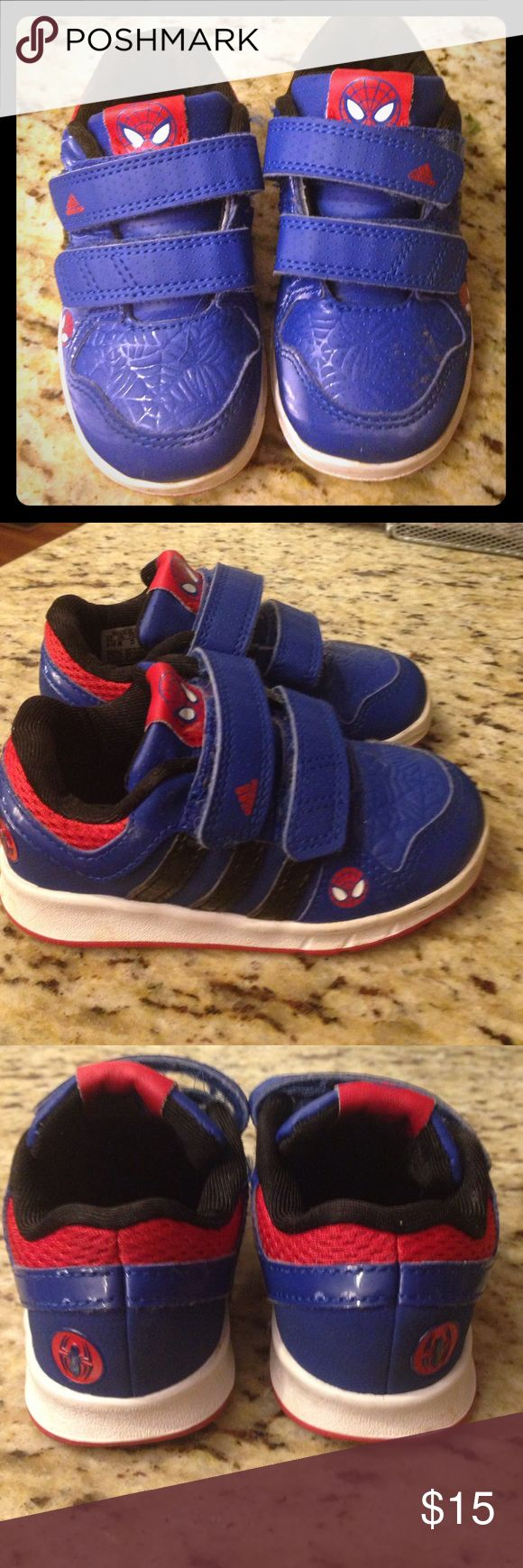 Toddler adidas Spider-Man shoes -6.5 Preloved but in great shape. Adidas Spider-Man shoes in a toddler size 6.5! My son loved these but his feet have outgrown them. Velcro straps. Adidas Shoes Sneakers