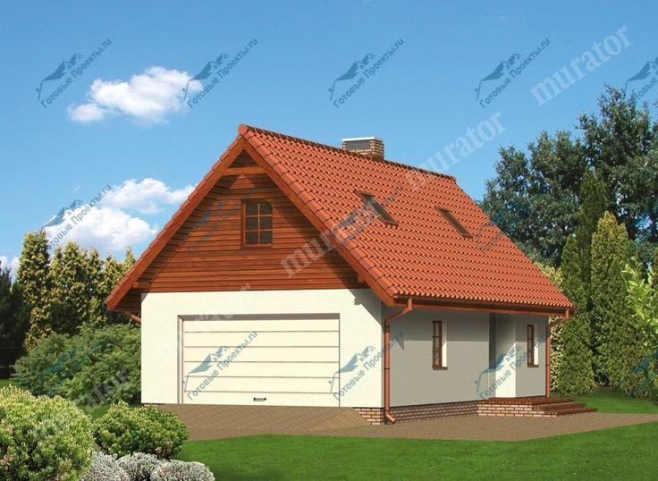 Проект двухместного гаража с жилой мансардой и хозяйственным помещением | Готовые-Проекты.ru
