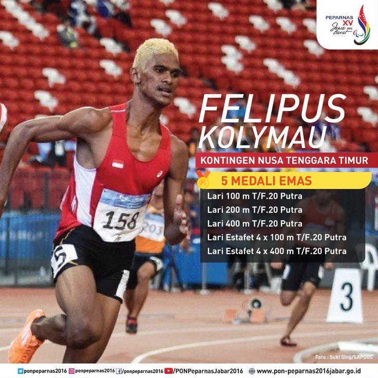 Felipus Kolymau, kontingen Nusa Tenggara  Timur yang meraih medali 5 emas pada #Peparnas2016.