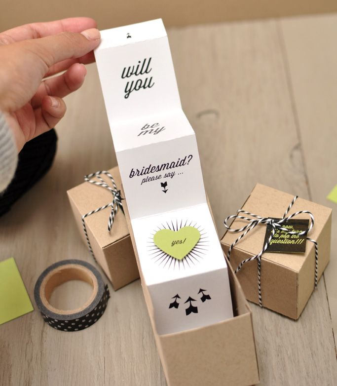Will You Be My Bridesmaid Favor Boxes - Accordion - In - A - Box takeaway. Crazy fold.