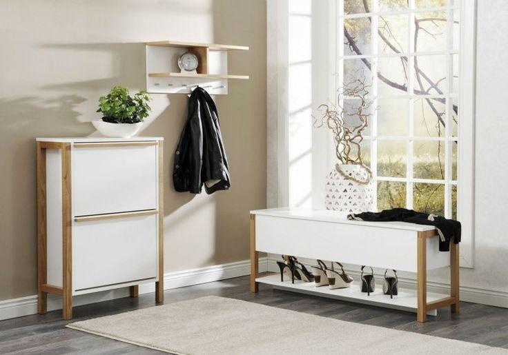 zestaw mebli do przedpokoju Northgate #szafka #buty #obuwie #korytarz #przedpokój #hall #weranda #skandynawskie #meble #furniture #white #biała #drewno #wood #design #nowość #new #design #sandały #czółenka #szpilki #kalosze #shoes #trampki #wieszak #płaszcz #kurtka #zima #jesień