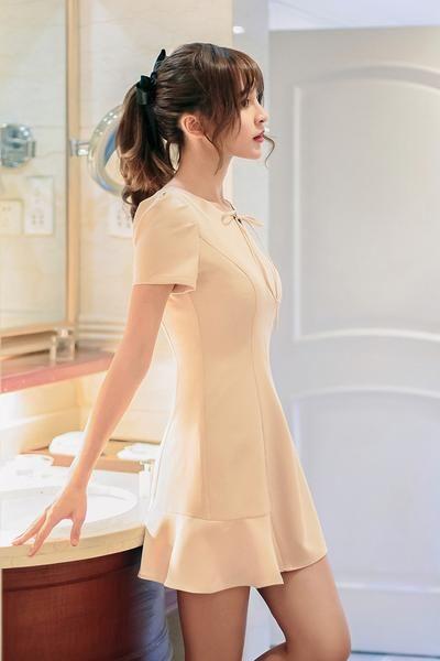 Japanese Fashion - Short-sleeved flounced slim dress AddOneClothing.com Size Chart