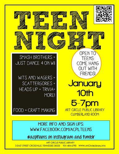 teen night flyer acpl library marketing 600