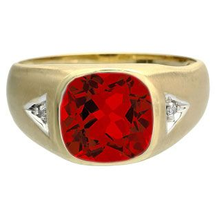 Antique Cushion Cut Ruby Gemstone Diamond Men's Gold Ring Available Exclusively From Gemologica.com