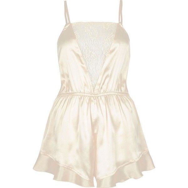 River Island Cream frill lace panel playsuit (291150 PYG) ❤ liked on Polyvore featuring jumpsuits, rompers, cream, lingerie & sleepwear, pajamas / loungewear, women, lace ruffle romper, white rompers, flounce romper and ruffle rompers