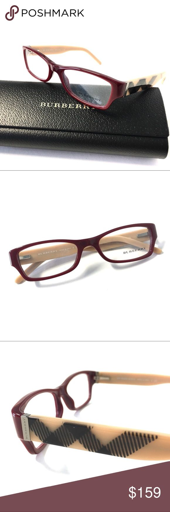 Burberry Burgundy Beige Eyeglasses Burgundy Beige Burberry Eyeglasses  Burberry Eyeglasses for Prescription lenses  SIZE: 52mm - 17mm - 135mm  100% Authentic!!!  Includes a Burberry Case. No Tags Burberry Accessories Glasses