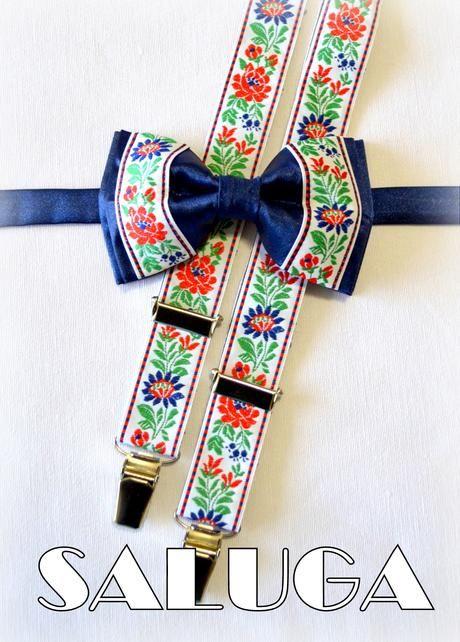 Folkový, folklórrny modrý motýlik + traky ľudový,