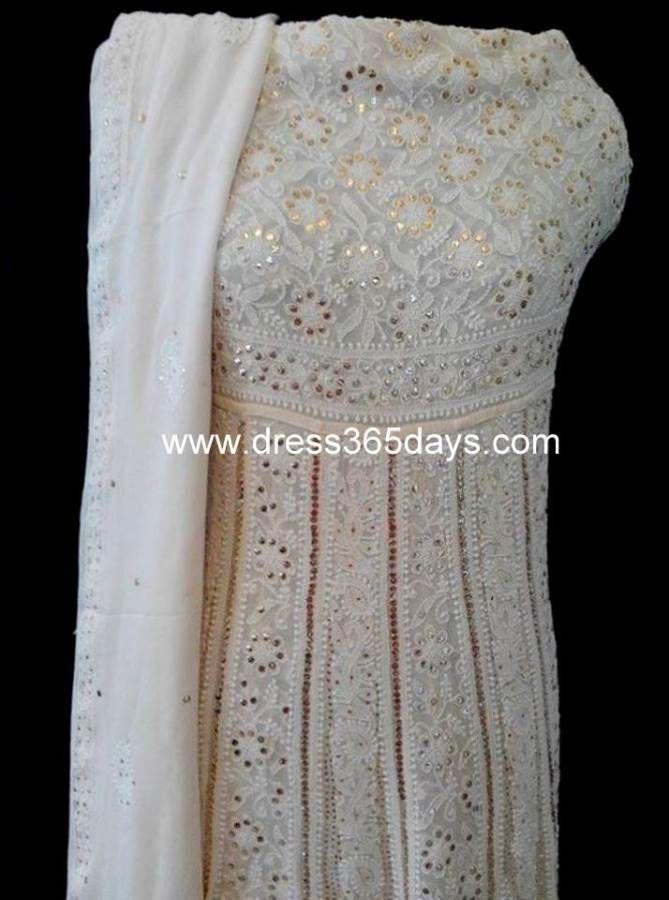 Designer Anarkali #chikankari Anarkali embellished with Muquish Kamdani work. $315