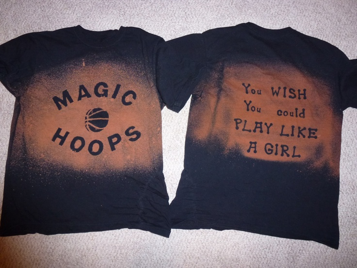 This is a t-shirt I made for the girl's basketball team.  Just craft foam and bleach water.