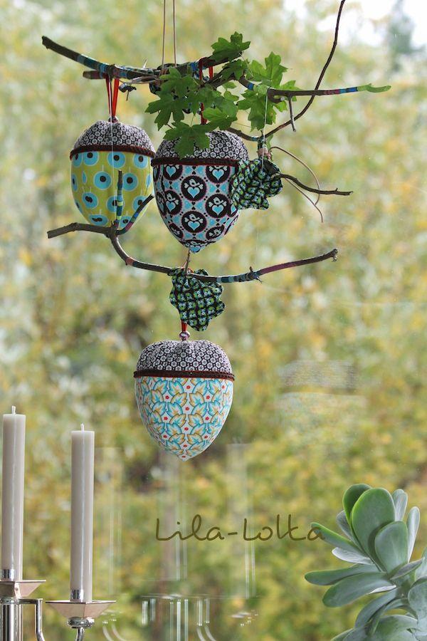 Eichel/ Haselnuss und Blätter aus Stoff nähen - perfekte Herbstdeko