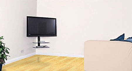 Corner Tv Mount With Shelves Spray Painted White To Blend
