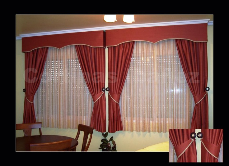 Cortinas clasicas cortinas triples visillos ca das 1 3 - Alzapanos para cortinas ...