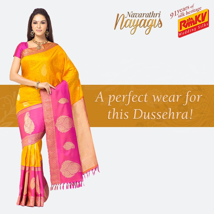 Get a striking look in this attractive yellow pure silk saree. Its contrasting pink border with huge motifs gives it a traditional look you need this Dussehra! Click to order - https://www.rmkv.com/product/wedding-collections2643-25735