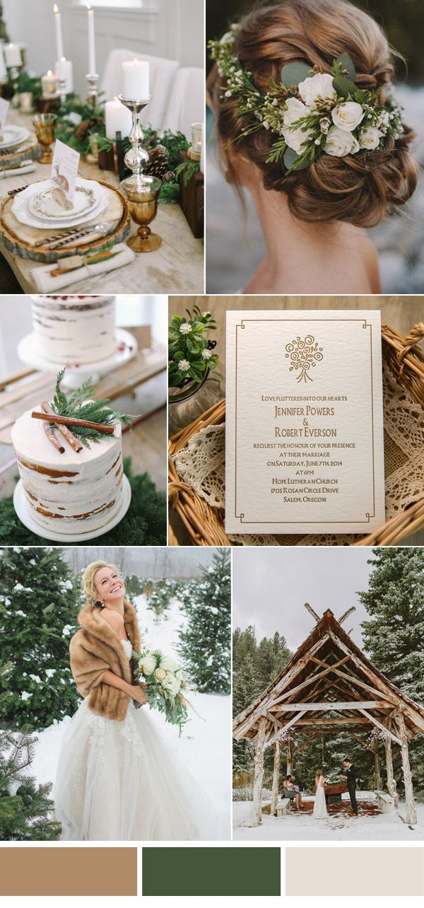 brown and greenery winter woodland wedding ideas