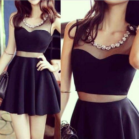 Pretty Sexy Short Little Black Dress With Mesh Insert