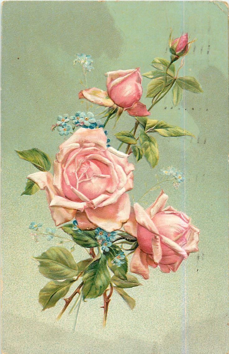 Винтаж открытки розы, летием дочки