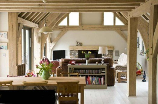 Dining / sitting room in oak framed house in Cornwall, UK