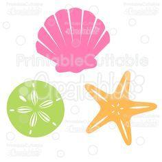 Sea Shells Free SVG Cut File & Clipart - SVG scrapbook cutting files for Silhouette, Cricut cutting machine. sea shells cut file, beach Clipart
