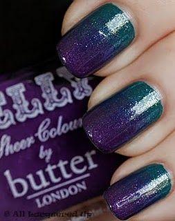 Graduated nail polish!!Nails Art, Purple, Teal Nails, Colors, Beautiful, Manicures, Sparkle Nails, Gradient Nails, Nails Polish
