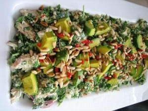 karen martini chicken, spinach + yoghurt salad