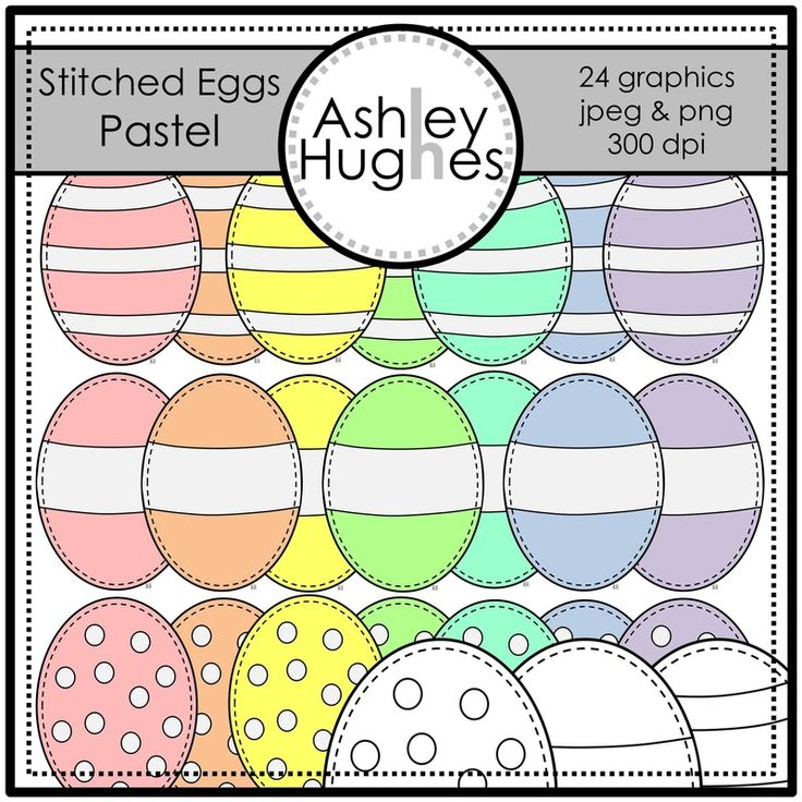 $ Stitched Eggs (Pastel): Graphcis/Clipart for Commercial Use
