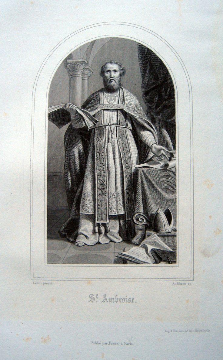 LELOIR pinx.  Saint Ambroise. 1853. Acciaio, mm.158x93. Finissimo ritratto. Non comune.