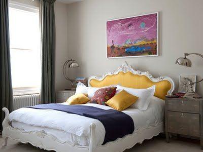 that yellow headboard...Yellow Headboards, Guest Bedrooms, Colors, Beds Frames, Upholstered Headboards, Purple Bedrooms, Bedrooms Decor Ideas, Design, Beautiful Bedrooms