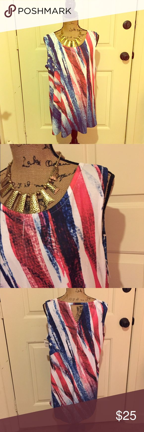 🆕 New Directions patriotic tank nwt Super cute! Perfect for your American login festivities 🇺🇸 polyester and spandex blend. 👺NO TRADES DONT ASK! ✌🏼️Transactions through posh only!  😻 friendly home 💃🏼 if you ask a question about an item, please be ready to purchase (serious buyers only) ❤️Color may vary in person!-inc. blue and red!  💗⭐️Bundles of 5+ LISTINGS are 5️⃣0️⃣% off! ⭐️buyer pays extra shipping if likely to be over 5 lbs 🙋thanks for looking! new directions Tops Tank Tops