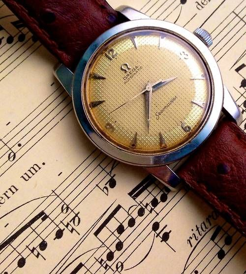 omegaforums:  Stunning Vintage Omega Seamaster With Square Waffle Dial Circa 1950s