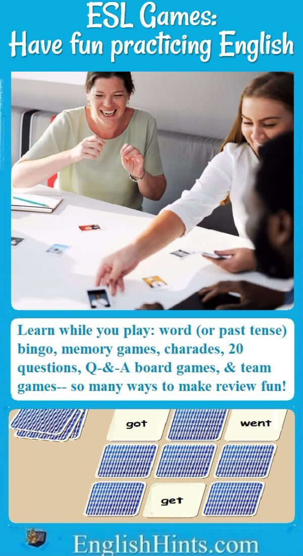 ESL Games: the number one way to practice English-- and have fun! Ideas for classroom, small group, and individual games, online and off.