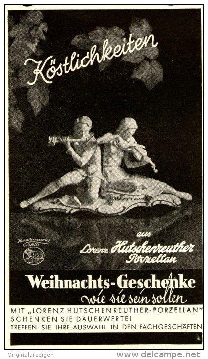 Original-Werbung/ Anzeige 1941 - LORENZ HUTSCHENREUTHER - SELB - PORZELLAN - ca. 65 x 115 mm