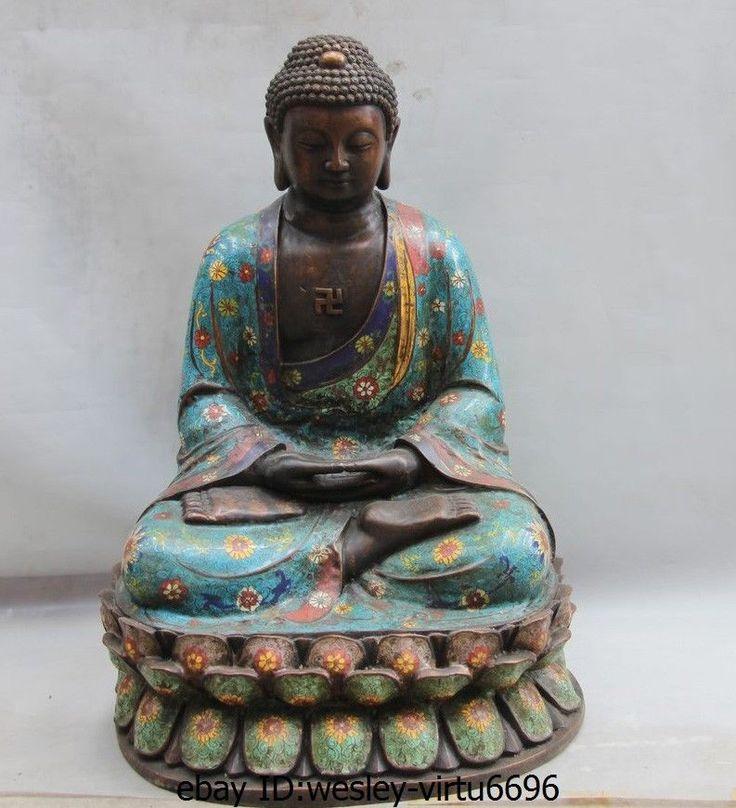 24 Tíbet Fane Bronce Cloisonne Esmalte Amitabha Tathagata Estatua de Buda Sakyamuni | eBay