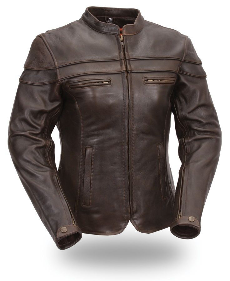 first classics ladies brown sporty scooter jacket - bikers-wear.com