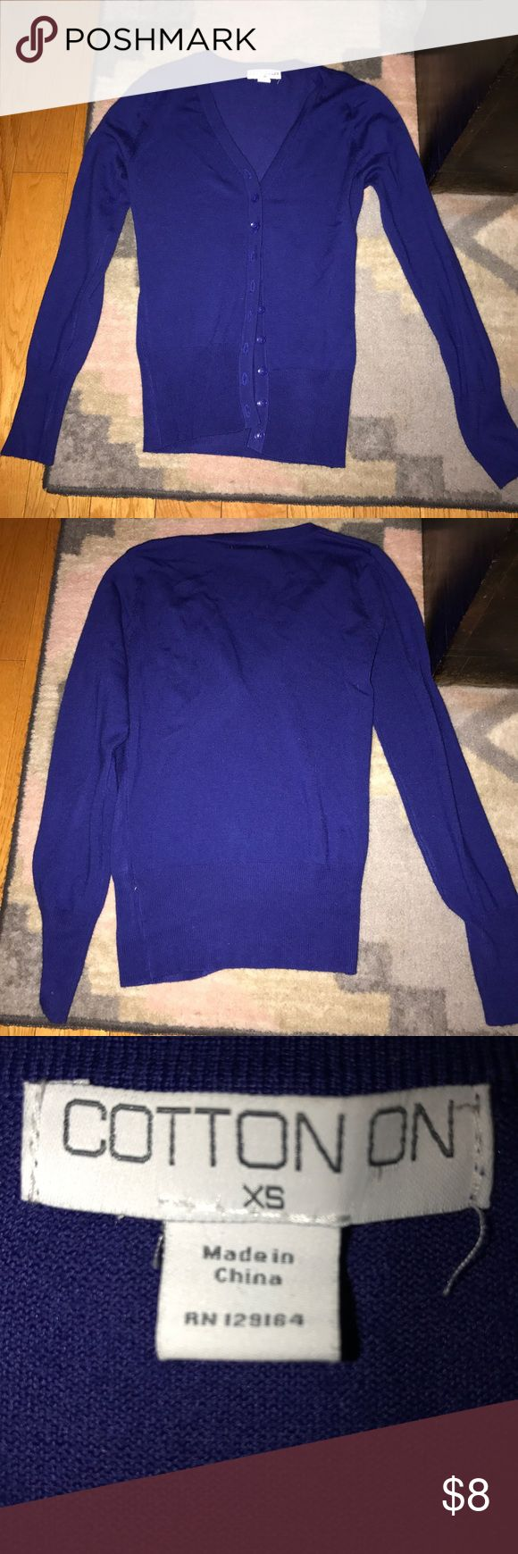 Practically New Royal Blue Cardigan Cotton On cardigan worn a few times. Bought to wear with a pair of shoes but never really wore. Some piling but overall still good. Cotton On Sweaters Cardigans