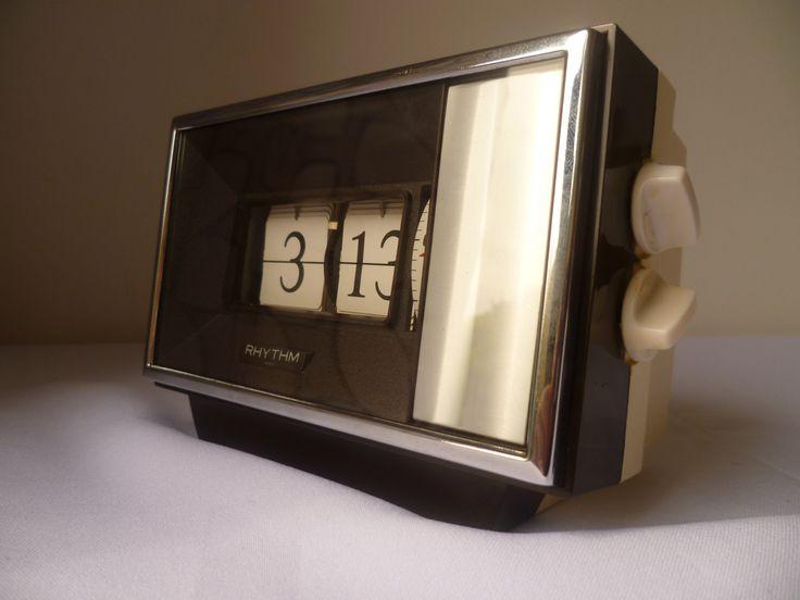 RHYTHM Japan flip alarm clock 1970 by MWKIRKonETSY on Etsy