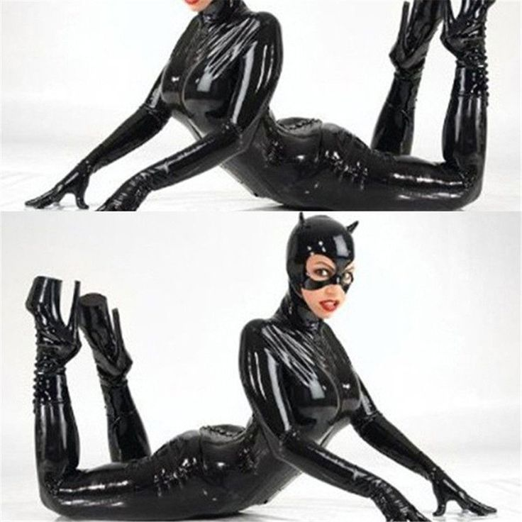 Lackleder Catwoman Kostüme Nachtclub DS Club Uniformen Cat Girl Catsuit mit Helm