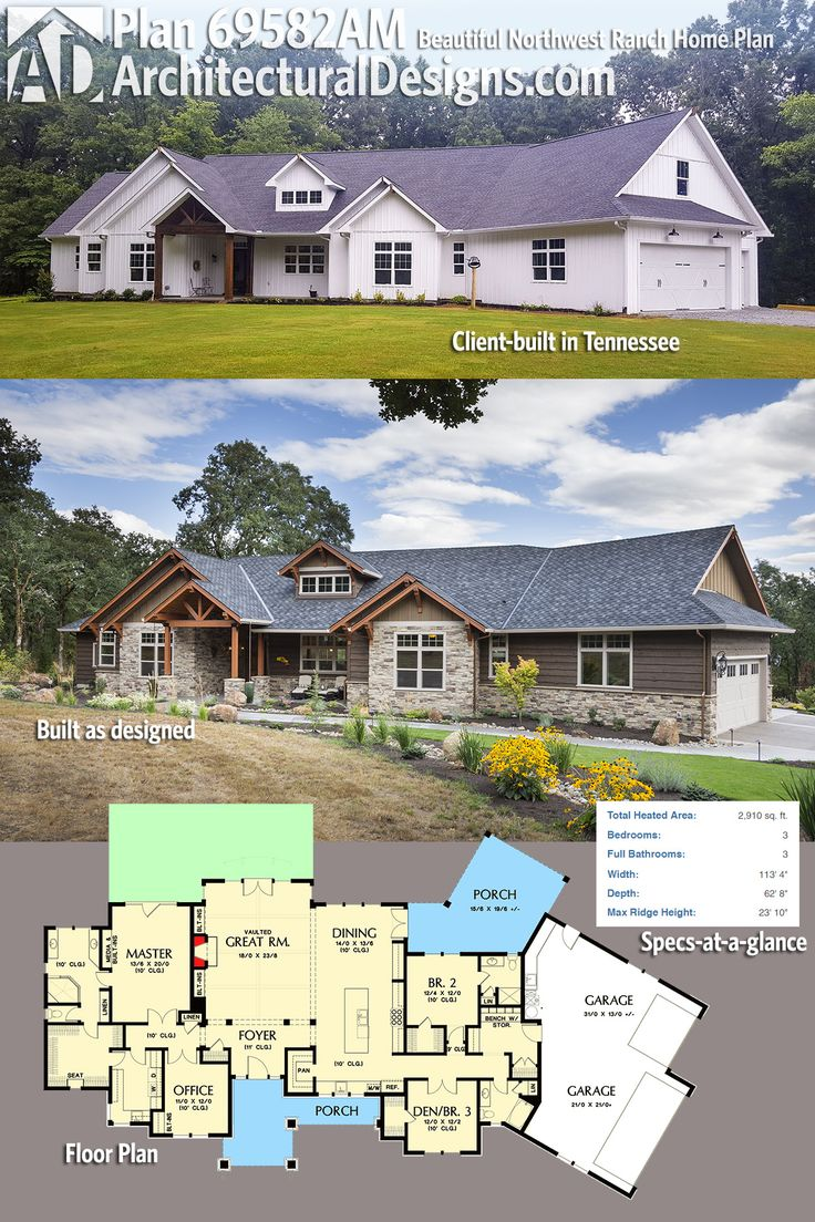 Architectural Designs Ranch Home Plan 69582AM - client-built in Tennessee on top and as designed below - gives you  3 beds, 3 baths and over 2,900 square feet of heated living space. Ready when you are. Where do YOU want to build?