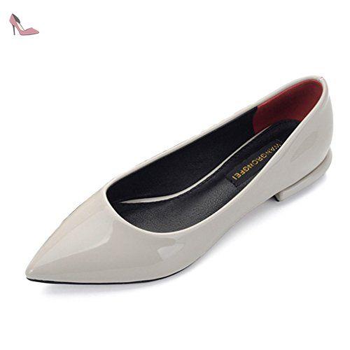 Chaussure petit talon femme bout pointu vernis cuir souple mocassin loafers chaussure de ville derby professionnel imperméable gris 36 - Chaussures xtian (*Partner-Link)