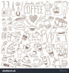 Set of doodles, hand drawn rough simple sketches, various kinds of coffee, ingredients and devices for coffee making. Vector isolated on white background for cafe menu, fliers, chalkboard