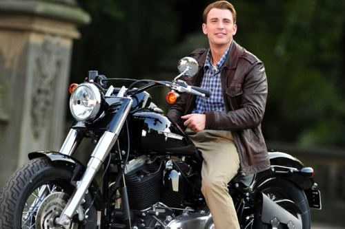 Chris Evans as Captain America on a motorcycle | Movie ...