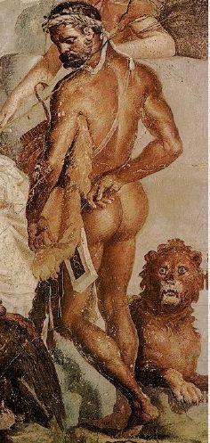 Fresco romano. Hércules y el león de Nemea