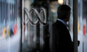 The Australia Broadcasting Corporation (ABC) logo is pictured at their studios in Ultimo, Sydney