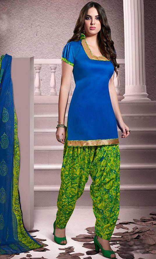 USD 20.13 Blue Cotton Patiala Salwar Kameez 43459