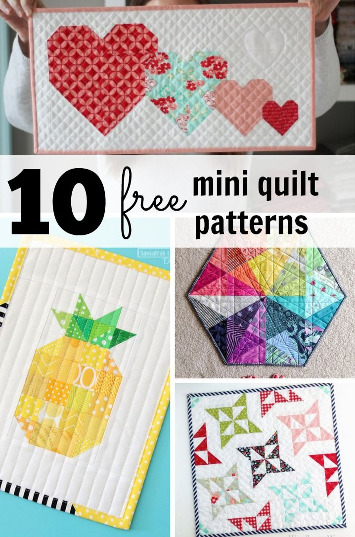 I love mini quilts – they are such a gorgeous way to practice your skills, learn new techniques, then have something to display. Here are ten super gorgeous mini quilts that have free patterns! Hurrah! Arabesque Mini by Woodberry Way – HSTs at their best!  I Heart You Mini by Cluck Cluck Sew…