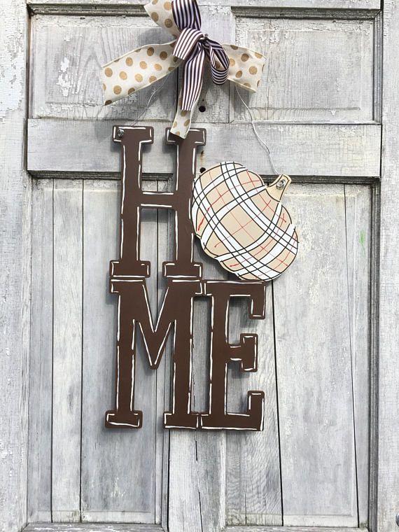 Pumpkin HOME Door hanger Home Door hanger fall door hanger