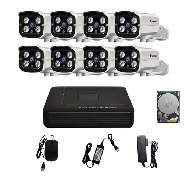 KORANG 8 Channel 720P DVR Security system with 8x1.0 Megapixel AHD Security Cameras Night Vision Waterproof Outdoor 1TB HDD Pre-installed